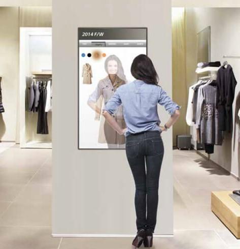 Miroir interactif et tactile boutique